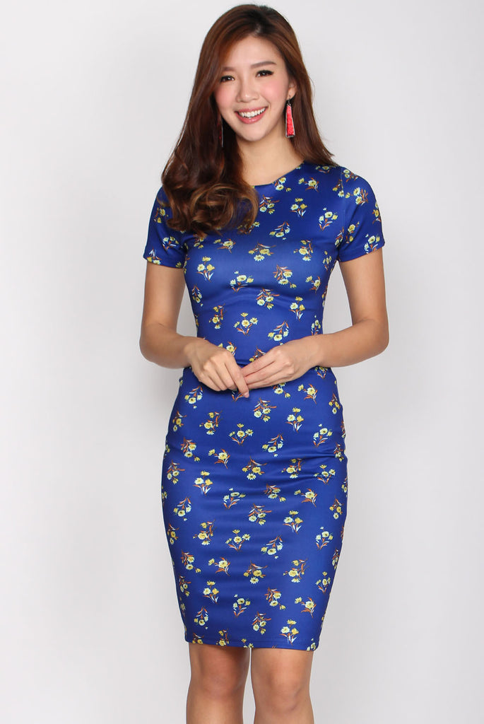 Charmaine Floral Pencil Dress In Blue