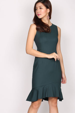 TDC Chastity Mermaid Midi Dress In Forest Green