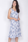 Chellsie Floral V Neck Dropwaist Dress In Blue