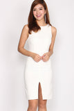 *BACKORDER* Chelsea High Neckline Pencil Dress In White