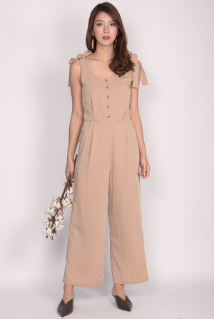 Cherelle Tie Shoulder Jumpsuit In Khaki