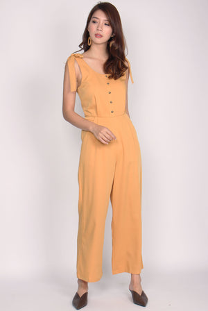Cherelle Tie Shoulder Jumpsuit In Mustard