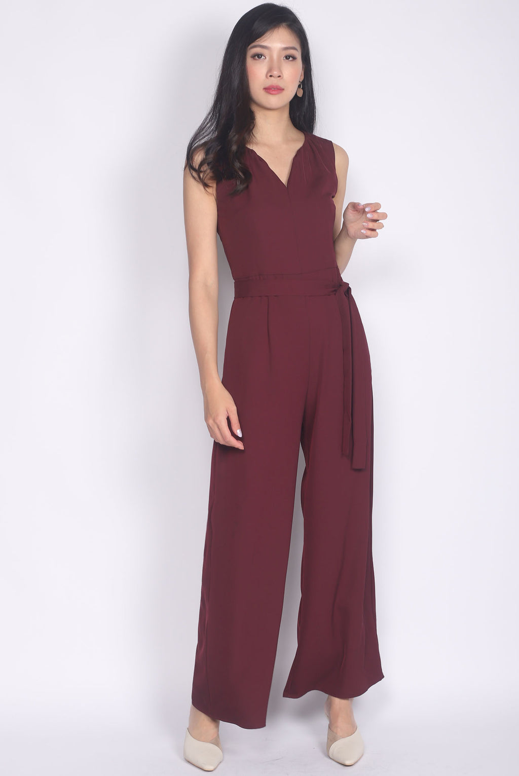 Cherith Keyhole Jumpsuit In Burgundy