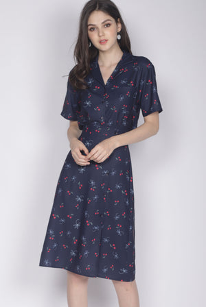 Cherries Shirt In Navy Blue