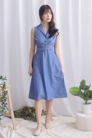 Chervil Wrap Buttons Dress In Denim Blue