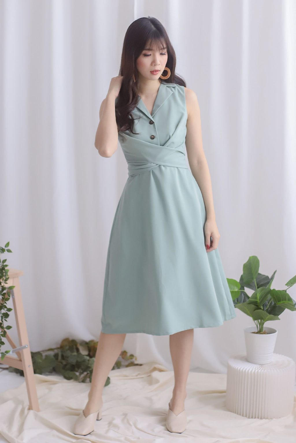 Chervil Wrap Buttons Dress In Sage