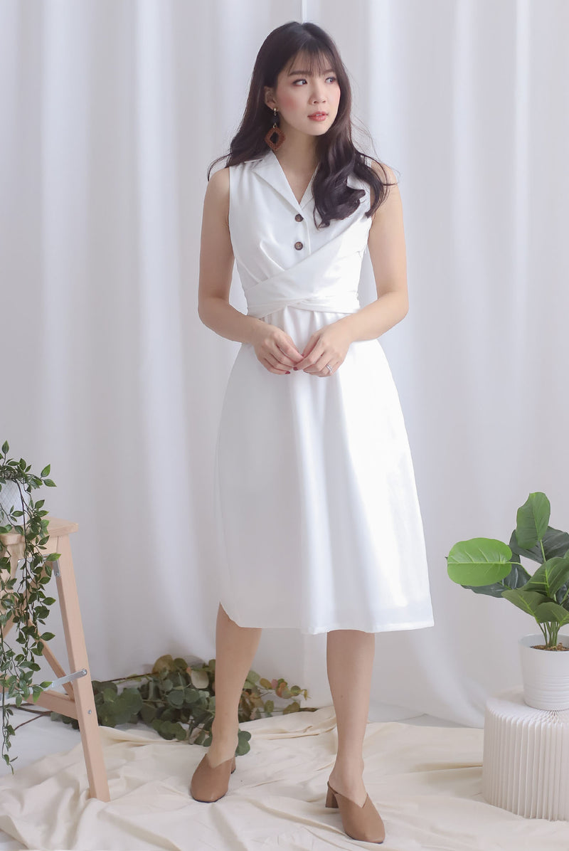 Chervil Wrap Buttons Dress In White