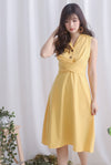 Chervil Wrap Buttons Dress In Daffodil Yellow