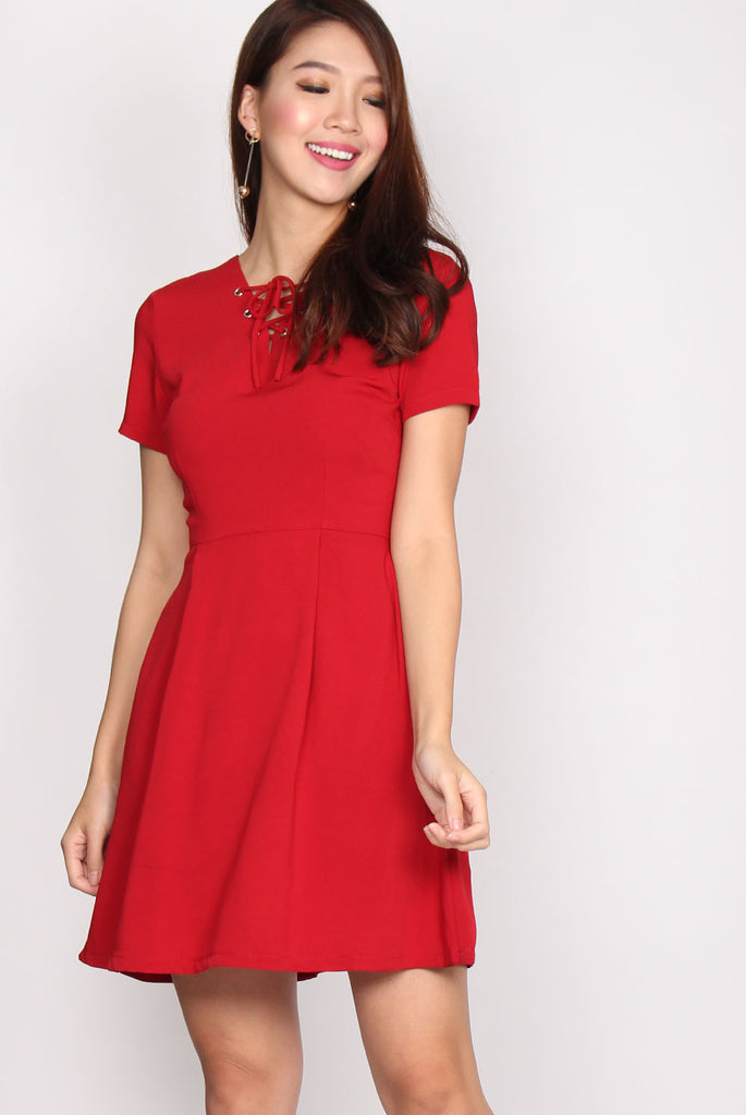 Chevelle Shoelace Romper Dress In Red