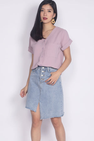 Chica Stripes Buttons Top In Mauve