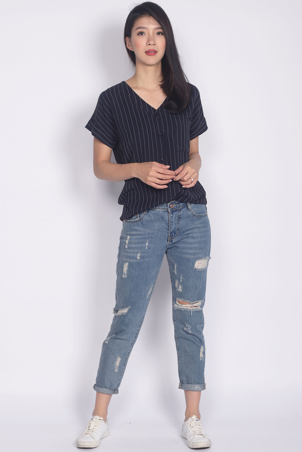 Chica Stripes Buttons Top In Navy Blue
