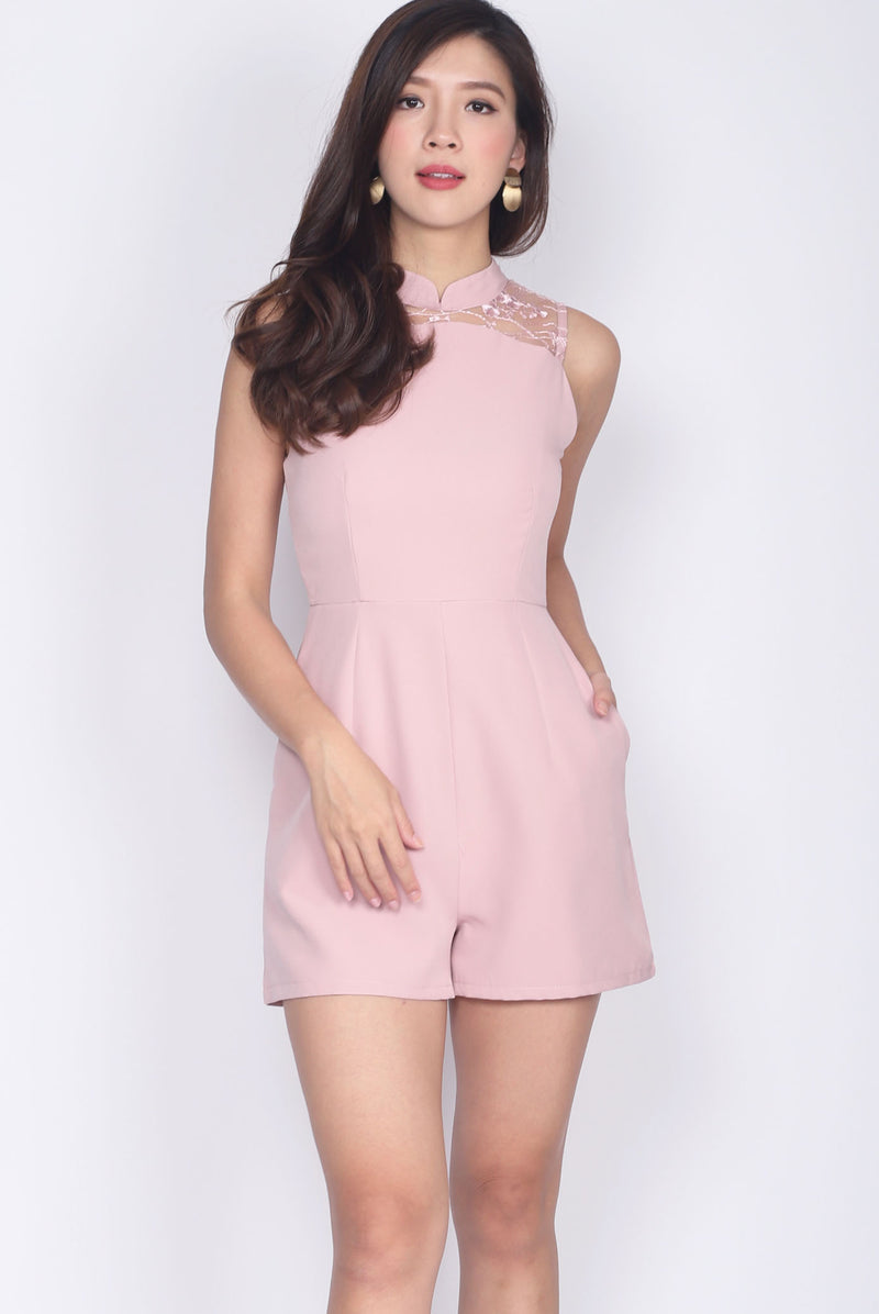 Chieko Cheong Sam Lace Romper In Blush