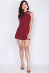 Chieko Cheong Sam Lace Romper In Wine Red