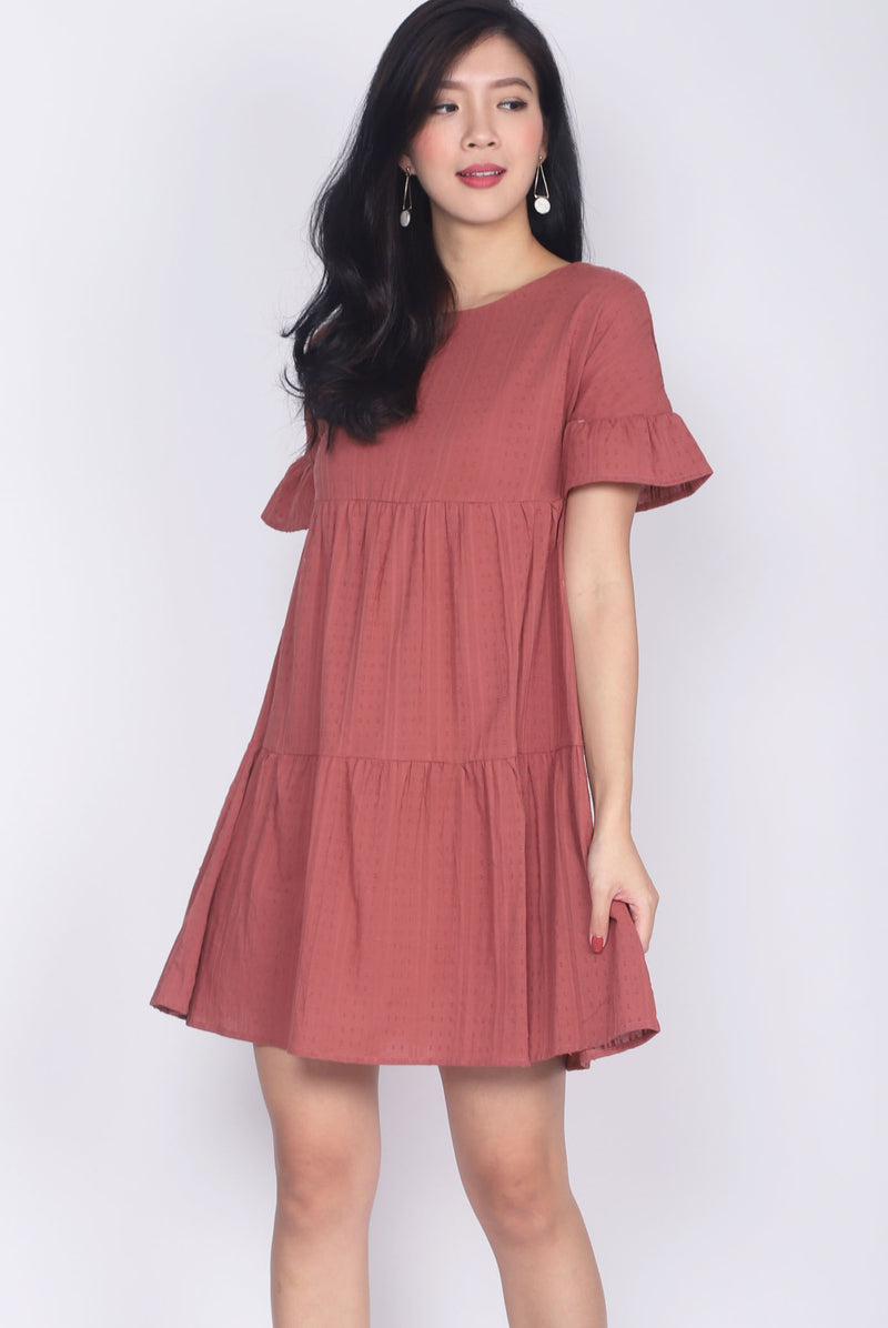 Chikako Poppy Babydoll Dress In Tea Rose