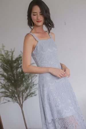 Christabel Lace Skater Dress In Ash Blue