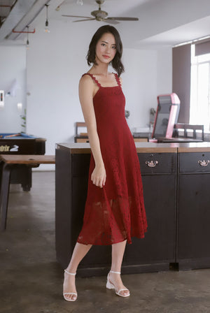 Christabel Lace Skater Dress In Wine Red