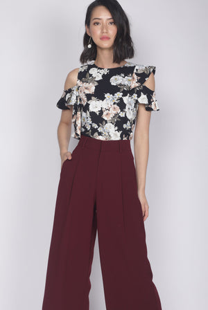 *Premium* Christie Ruffle Floral Top In Black