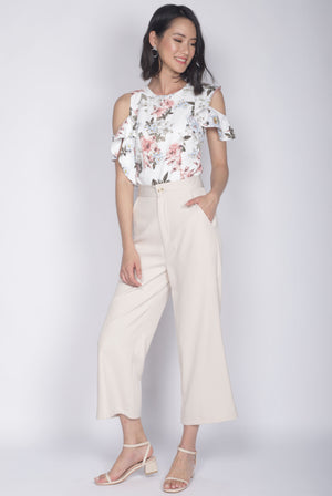 *Premium* Christie Ruffle Floral Top In White
