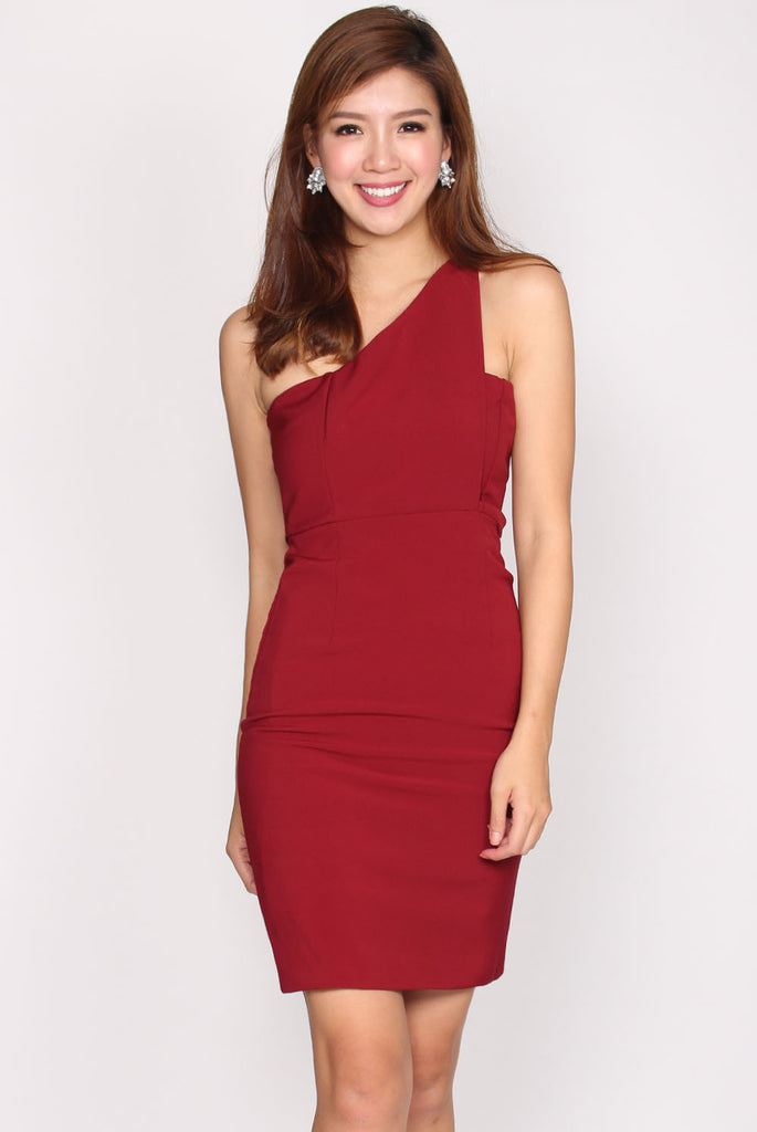 Chrysalis Toga Pencil Dress In Wine Red