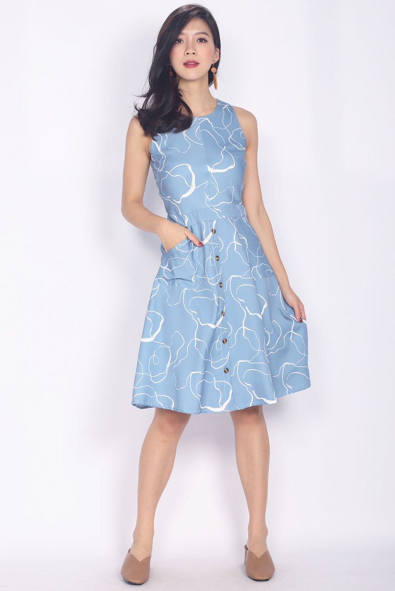Cinthia Abstract Buttons Flare Dress In Blue