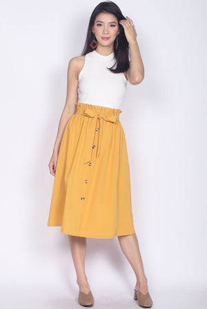 Circe Paperbag Buttons Skirt In Mustard