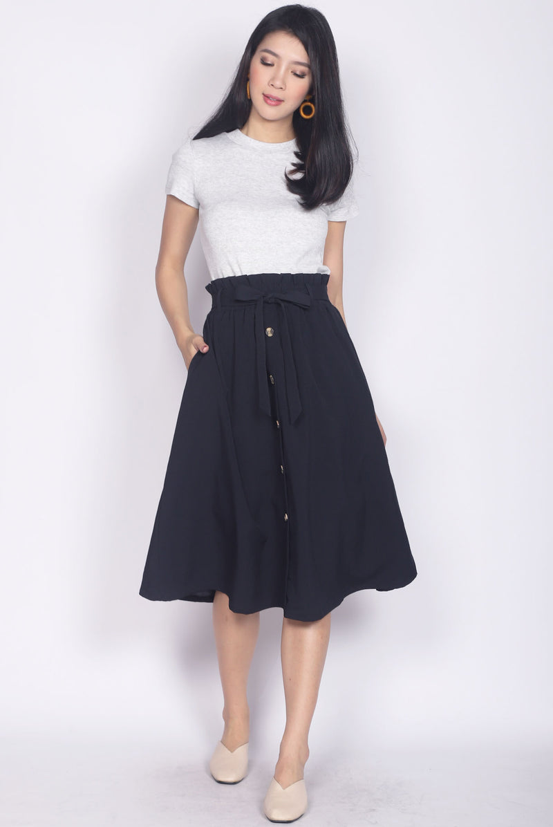 Circe Paperbag Buttons Skirt In Navy Blue