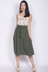 Circe Paperbag Buttons Skirt In Olive