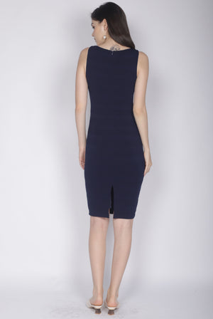 *Premium* Clair Stripes Bodycon Dress In Navy Blue