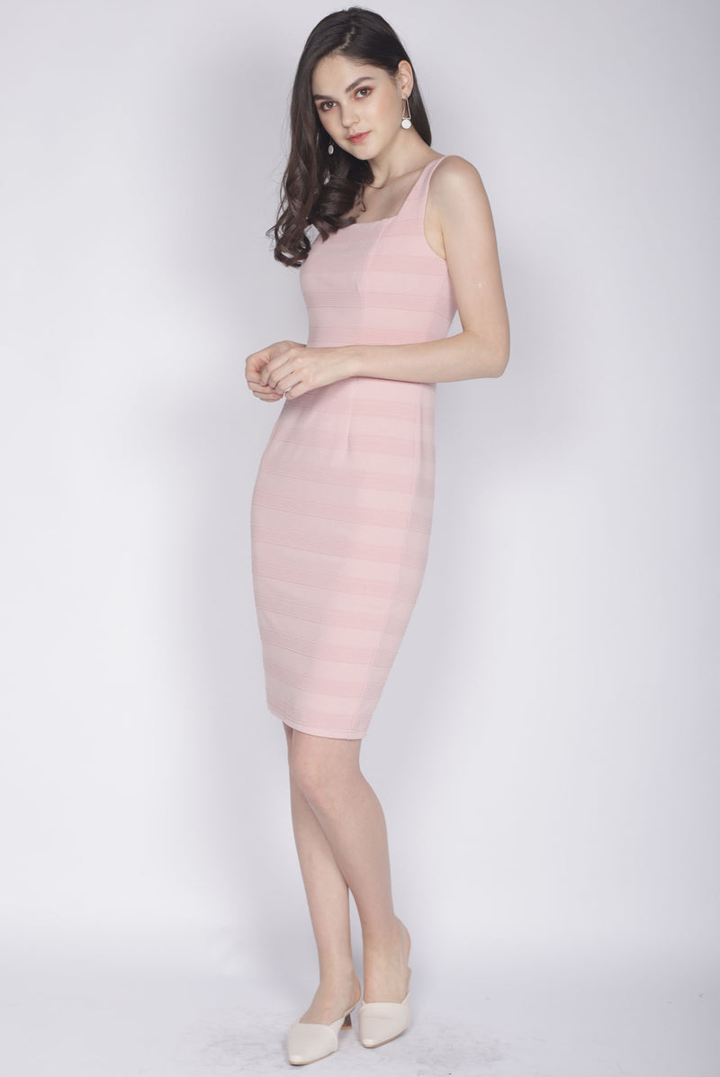 *Premium* Clair Stripes Bodycon Dress In Blush