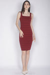 *Premium* Clair Stripes Bodycon Dress In Wine Red