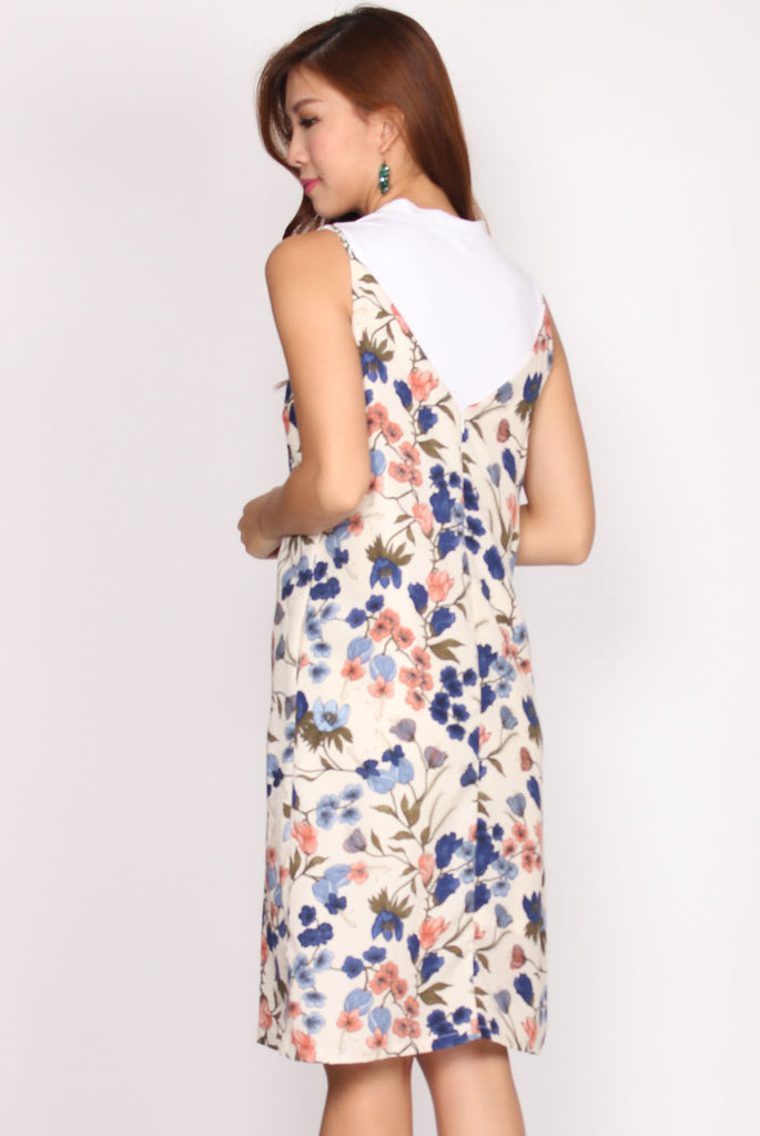Claire Floral Slip Dress In Cream