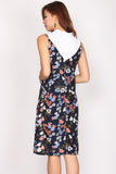 Claire Floral Slip Dress In Navy Blue