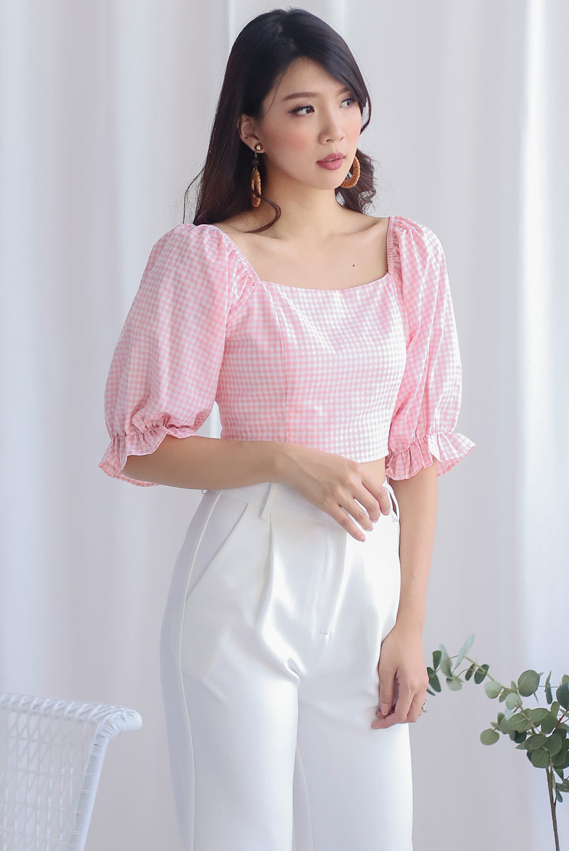 Clancy Puffy Sleeve Top In Pink Plaid