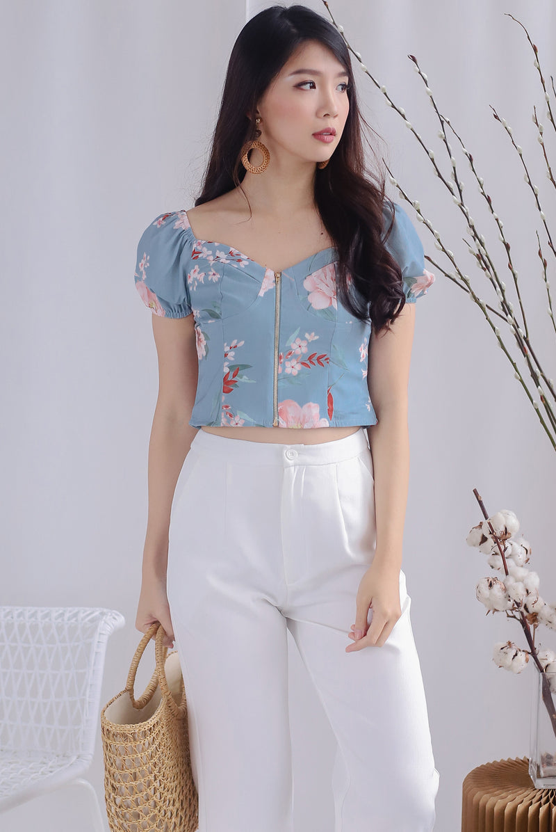 Clarabelle Floral Bustier Top In Ash Blue