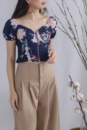 Clarabelle Floral Bustier Top In Navy Blue