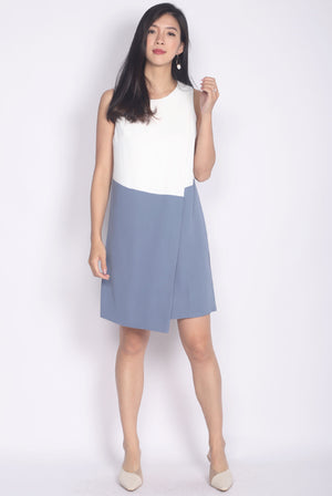 Clariel Colour Block Trapeze Dress In White/Skyblue