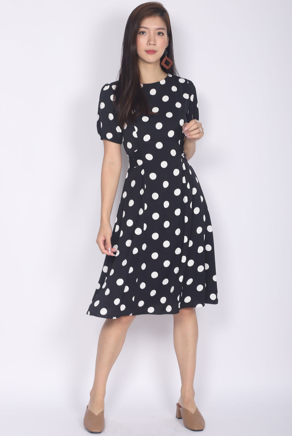 Clarisse Polkadot Poof Sleeve Sash Dress In Black