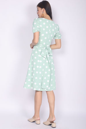 Clarisse Polkadot Poof Sleeve Sash Dress In Mint Green