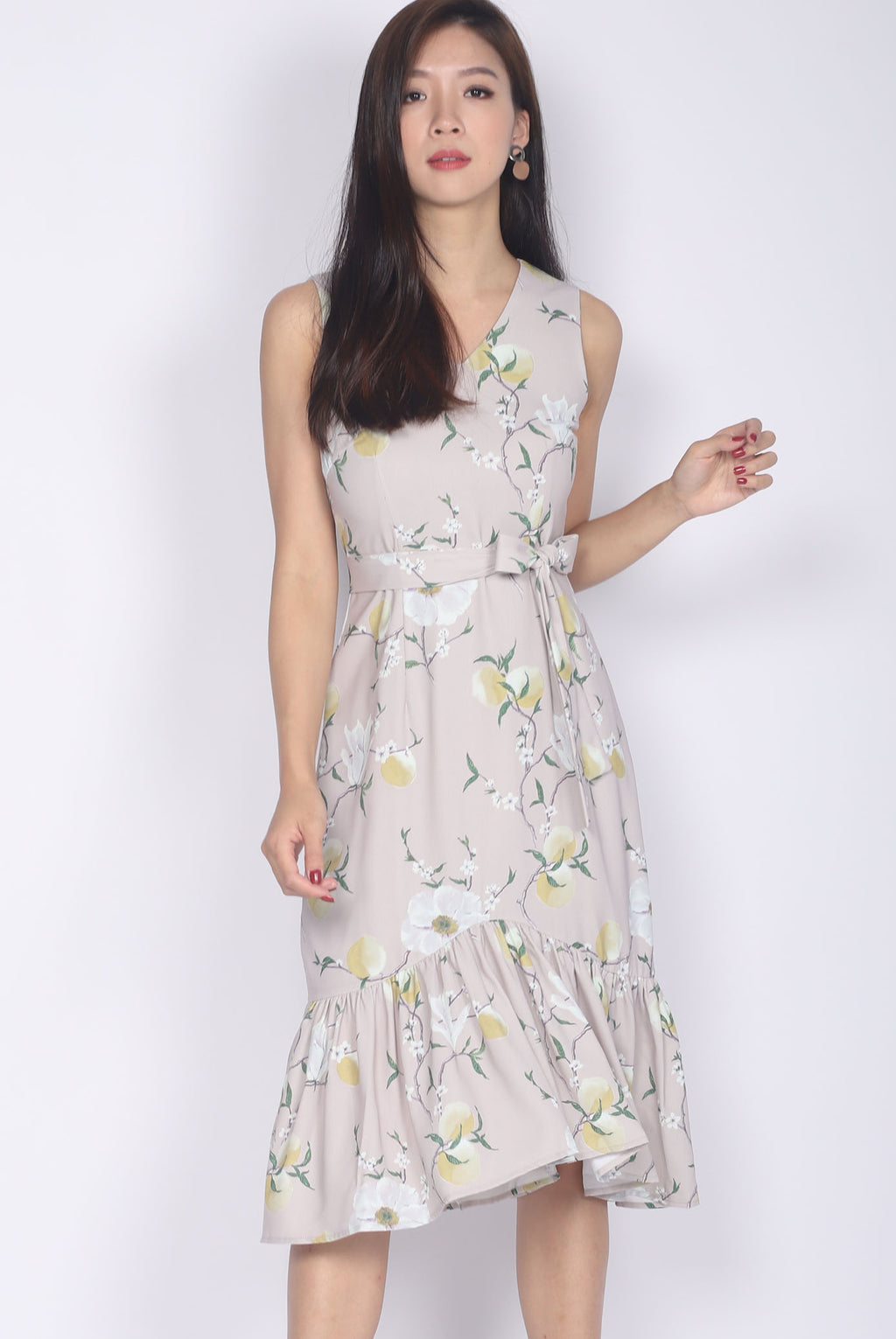 Clarity Floral V Neck Fishtail Dress In Blush