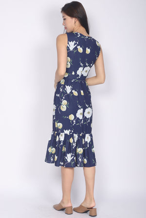 Clarity Floral V Neck Fishtail Dress In Navy Blue