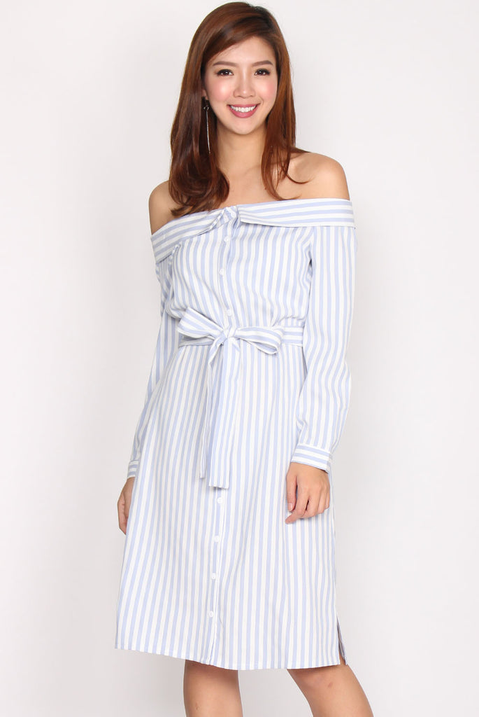 Clarke Stripes T Shoulder Shirt Dress