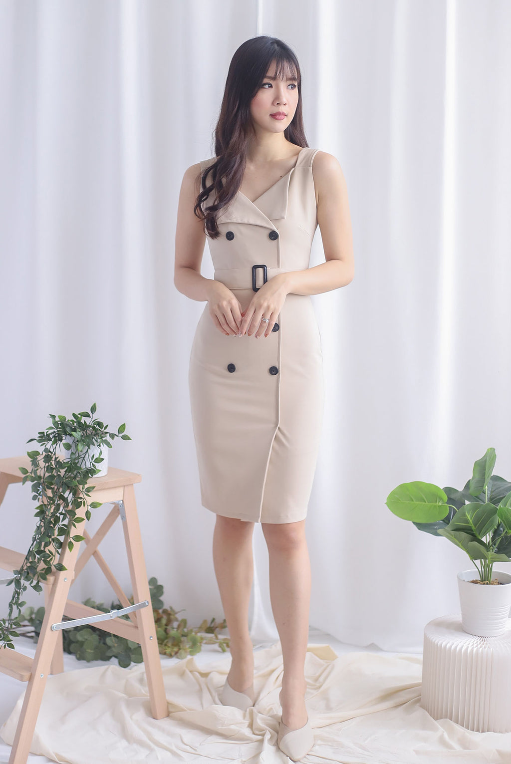 *Premium* Claude Trench Work Dress In Wheat