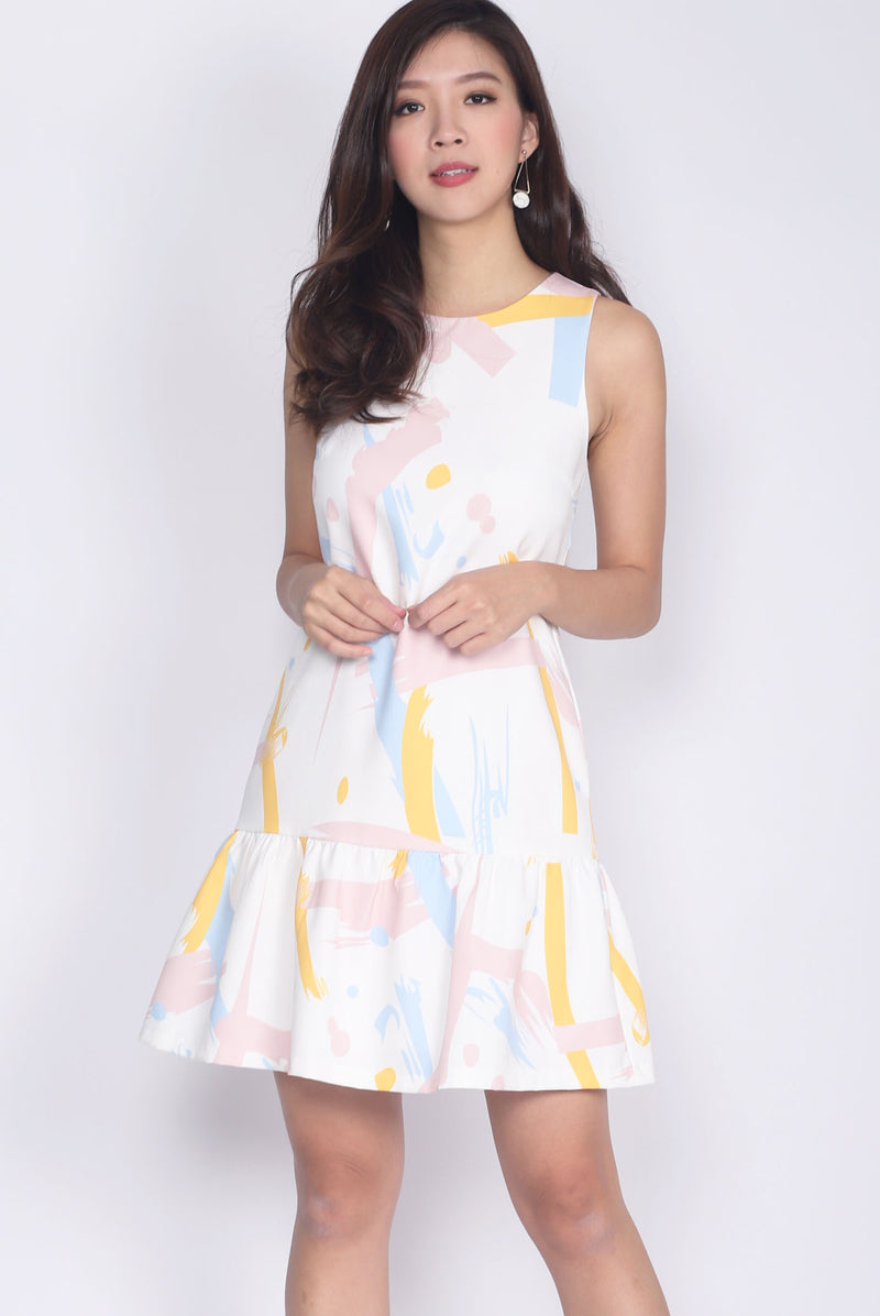 Coleen Colour Paint Drop Waist Dress In White