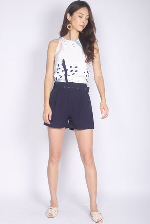 Coline Belted Shorts In Navy Blue