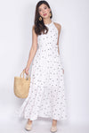 Confetti Halter Maxi Dress In White