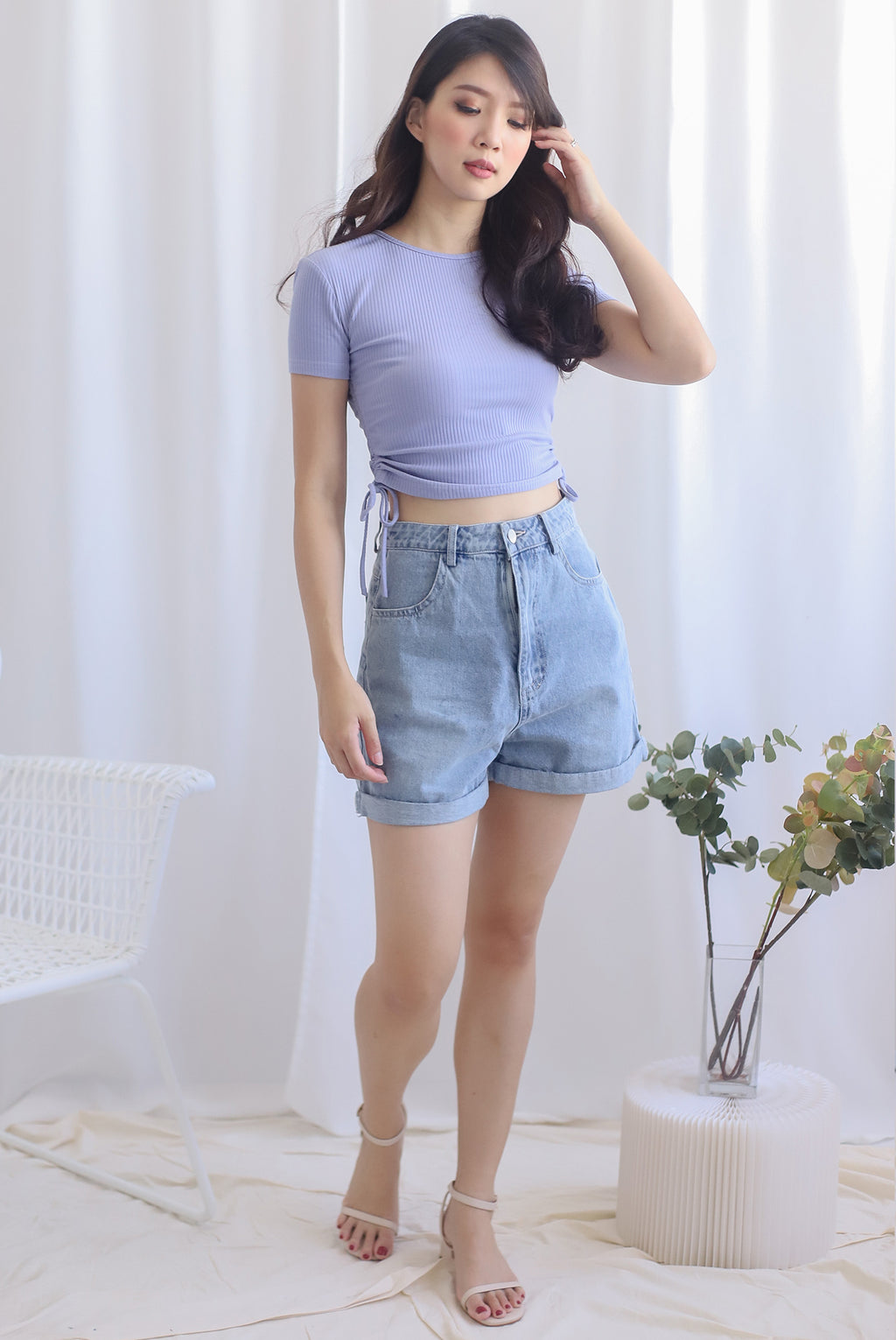 Corvina Two Ways Ribbed Top In Lilac