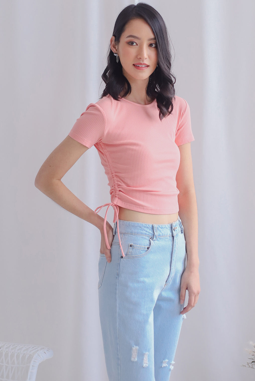 Corvina Two Ways Ribbed Top In Pink