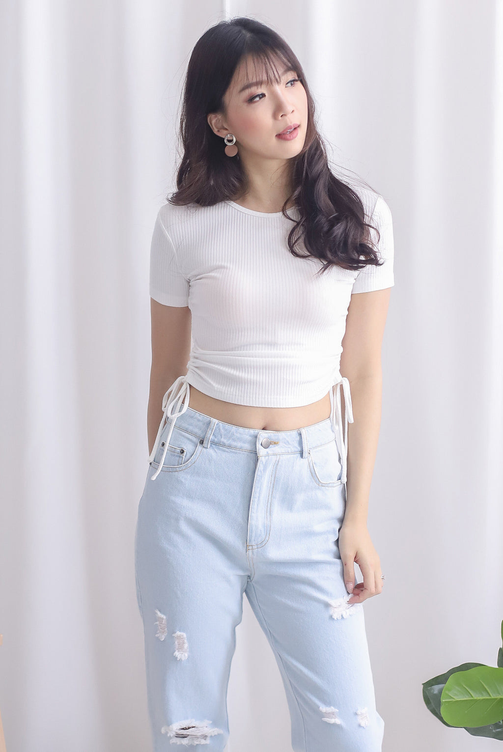 *Restocked* Corvina Two Ways Ribbed Top In White