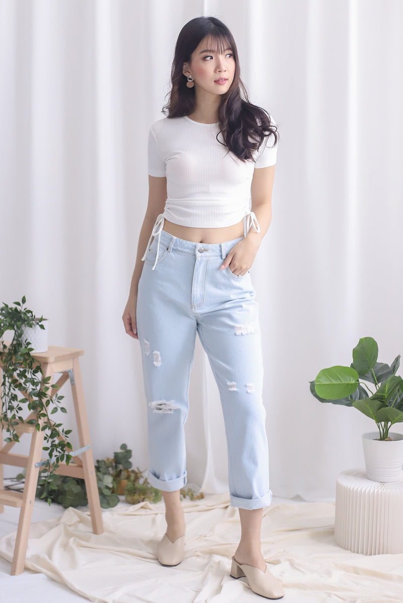 *Backorder* Delphine Ripped Boyfriend Jeans In Light Wash