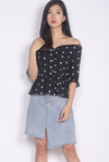 Cosima Polkadot Sweetheart Off Shoulder Top In Black